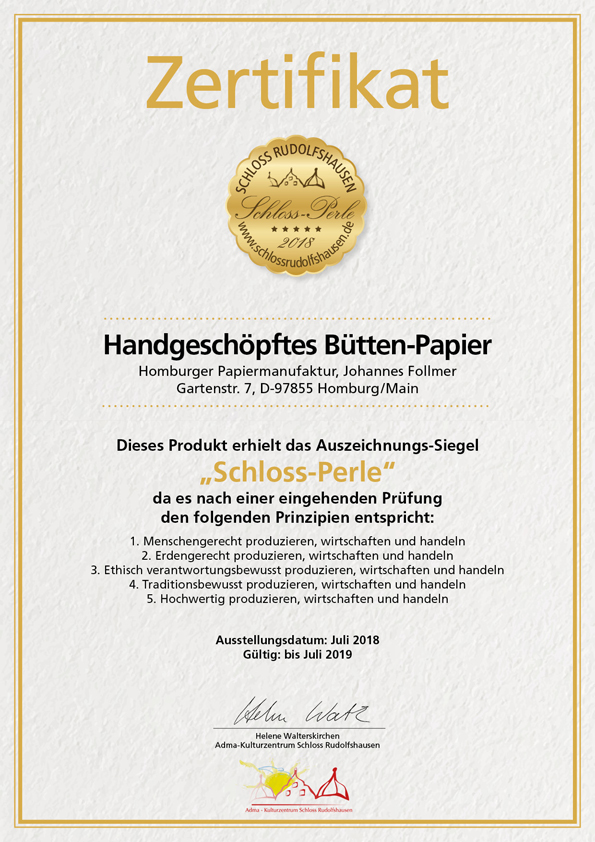 Homburger Papiermanufaktur Zertifikat