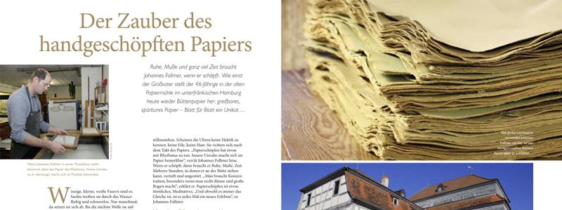 Presseberichte-Land und Leute: Der Zauber des handgeschöpften PapiersHomburger Papiermanufaktur